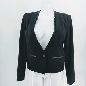Loft blazer with faux leather trimming